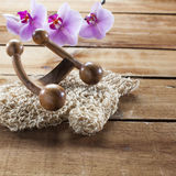 Ainda-vida da esfoliação e da hidratação para o hammam, os termas ou a sauna Imagem de Stock
