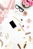 Ainda vida da mulher da forma, objetos no branco Imagens de Stock Royalty Free