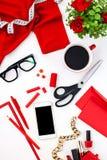 Ainda vida da mulher da forma, objetos no branco Imagem de Stock Royalty Free