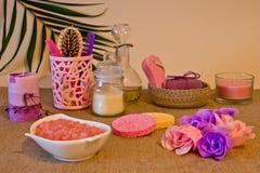Ainda vida das ferramentas e dos meios para o skincare e o cabelo em um co cor-de-rosa Fotografia de Stock