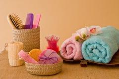Ainda vida das ferramentas e dos meios para o skincare e o cabelo em um rosa Fotos de Stock