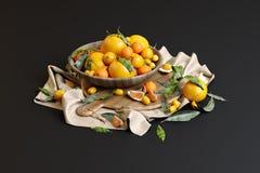 Ainda vida das laranjas em um vaso ilustração royalty free