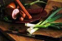 Ainda vida das salsichas Fotografia de Stock Royalty Free