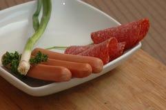 Ainda vida das salsichas Imagens de Stock Royalty Free