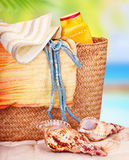 Ainda vida de artigos da praia Fotografia de Stock Royalty Free