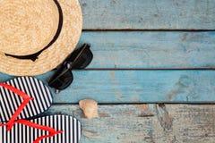 Ainda vida de artigos diferentes para relaxar na praia, borracha Fotografia de Stock