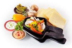 Ainda vida de ingredientes frescos para o raclette Fotos de Stock Royalty Free