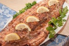 Ainda vida de peixes vermelhos grelhados Fotos de Stock Royalty Free