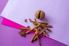 Ainda vida do coco, de varas de canela artificiais e das estrelas do anis encontrando-se no fundo colorido imagens de stock royalty free