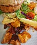 Ainda vida do hamburguer do vegetariano com salada imagem de stock