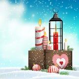 Ainda-vida do Natal, caixa de madeira com velas e lanterna ilustração do vetor