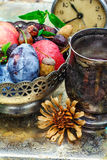 Ainda-vida do outono com chá Fotografia de Stock