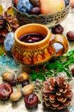 Ainda-vida do outono com chá Imagens de Stock