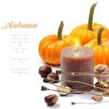 Ainda-vida do outono com vela Imagens de Stock Royalty Free