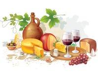 Ainda vida do vinho, do queijo e das uvas Fotos de Stock Royalty Free