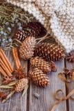 Ainda-vida dos cones e da canela no fundo de madeira Fotografia de Stock