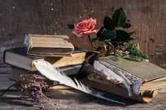 Ainda-vida dos livros velhos Fotos de Stock Royalty Free