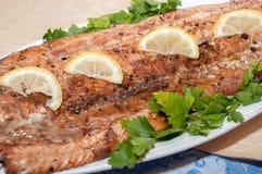 Ainda vida dos peixes vermelhos decorados com salsa e limão Fotografia de Stock
