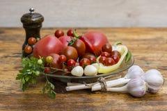 Ainda vida dos tomates, das pimentas e das especiarias Fotografia de Stock