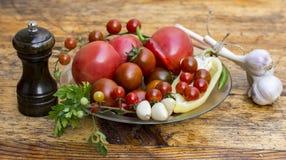 Ainda vida dos tomates, das pimentas e das especiarias Imagens de Stock Royalty Free