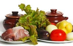 Ainda vida dos vegetais e da carne Fotografia de Stock