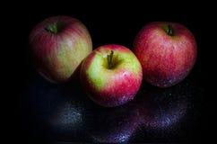Ainda vida, duas maçãs em um pulverizador da água no fundo preto Fotografia de Stock Royalty Free