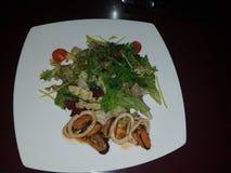 Ainda vida 1 Em uma placa branca com uma salada Em um lado do prato são os mexilhões e os rapans, tomates na parte dianteira, no  Imagens de Stock