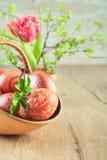 Ainda vida em verde e em marrom com ovos da páscoa, espaço do texto Fotografia de Stock Royalty Free