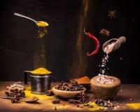 Ainda vida 1 Especiarias no movimento, nas cores e nos sabores fotos de stock