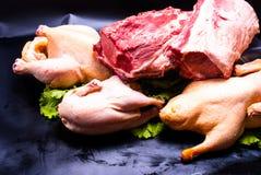 Ainda vida - galinha e carne cruas Imagens de Stock Royalty Free