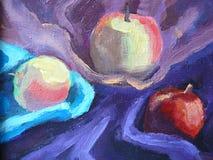 Ainda-vida grande com três maçãs ilustração stock