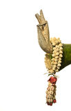 Ainda vida, mão da Buda e flor no fundo branco, foto de stock royalty free