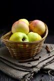 Ainda vida: maçãs na cesta Fotos de Stock Royalty Free