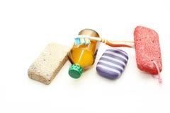 Ainda vida - meios diferentes da higiene para um corpo Imagem de Stock Royalty Free