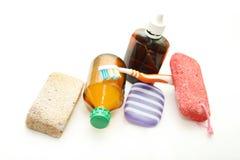 Ainda vida - meios diferentes da higiene para um corpo Fotografia de Stock Royalty Free