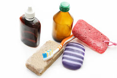 Ainda vida - meios diferentes da higiene para um corpo Fotografia de Stock