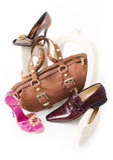Ainda-vida moderna com sapatas e saco Imagem de Stock Royalty Free