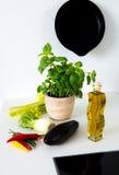 Ainda-vida na cozinha com garrafa de óleo, aipo, beringela Imagem de Stock Royalty Free