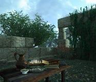 Ainda vida na natureza com ruínas antigas, livros, azeitona e jarro Imagens de Stock Royalty Free