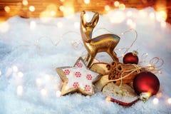 Ainda vida na neve com fragrância do Natal Fotos de Stock Royalty Free