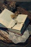 Ainda vida no estilo retro com uma chave velha, umas flores secas e um livro Foto de Stock