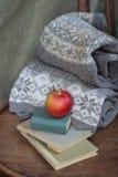 Ainda vida no estilo retro com uma chave velha, umas flores secas e um livro Fotos de Stock Royalty Free