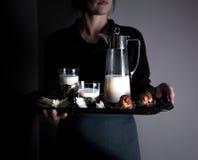 Ainda vida no Holandês-estilo pequeno as mãos da mulher que guardam uma bandeja Bolos e leite vintage Fotografia de Stock