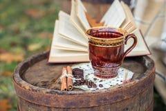 Ainda vida no outono velho do tambor do carvalho Foto de Stock