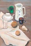 Ainda vida nos tons brancos e marrons Imagem de Stock Royalty Free