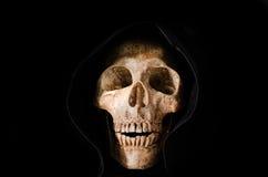 Ainda vida o crânio humano no fundo preto Fotografia de Stock
