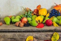 Ainda vida outonal com fruto e folhas em uma base de madeira Foto de Stock Royalty Free