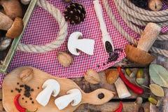 Ainda vida: Partes dos cogumelos, das pimentas e das especiarias brancos Fotos de Stock