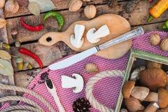 Ainda vida: Partes dos cogumelos, das pimentas e das especiarias brancos Fotos de Stock Royalty Free