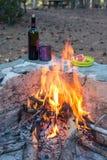 Ainda vida perto da fogueira Imagem de Stock Royalty Free